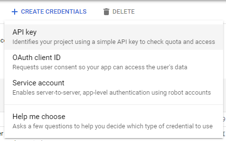 Credentials in the API Manager